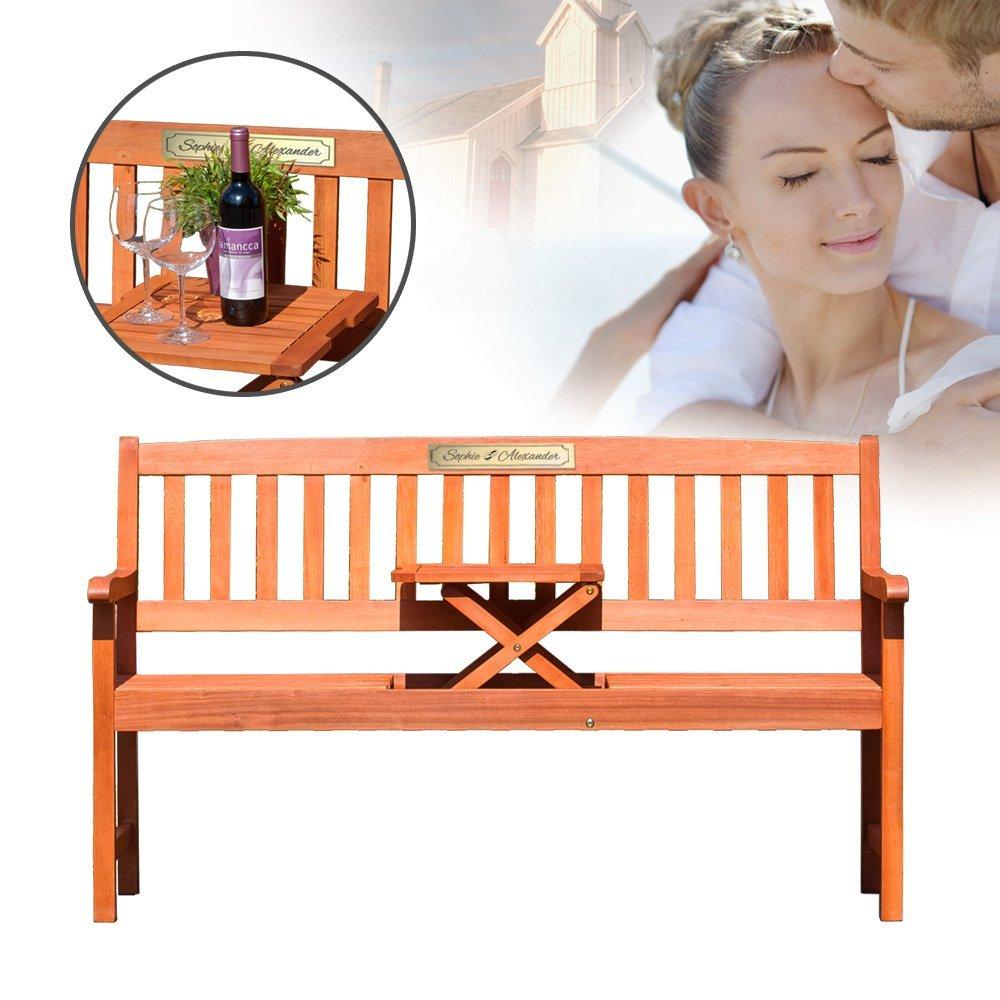 Gartenbank 3sitzer aus massivem Eukalyptusholz mit Tisch – Hochzeitsgeschenk oder Geschenk zum Hochzeitstag- Personalisiert mit Namen und Datum