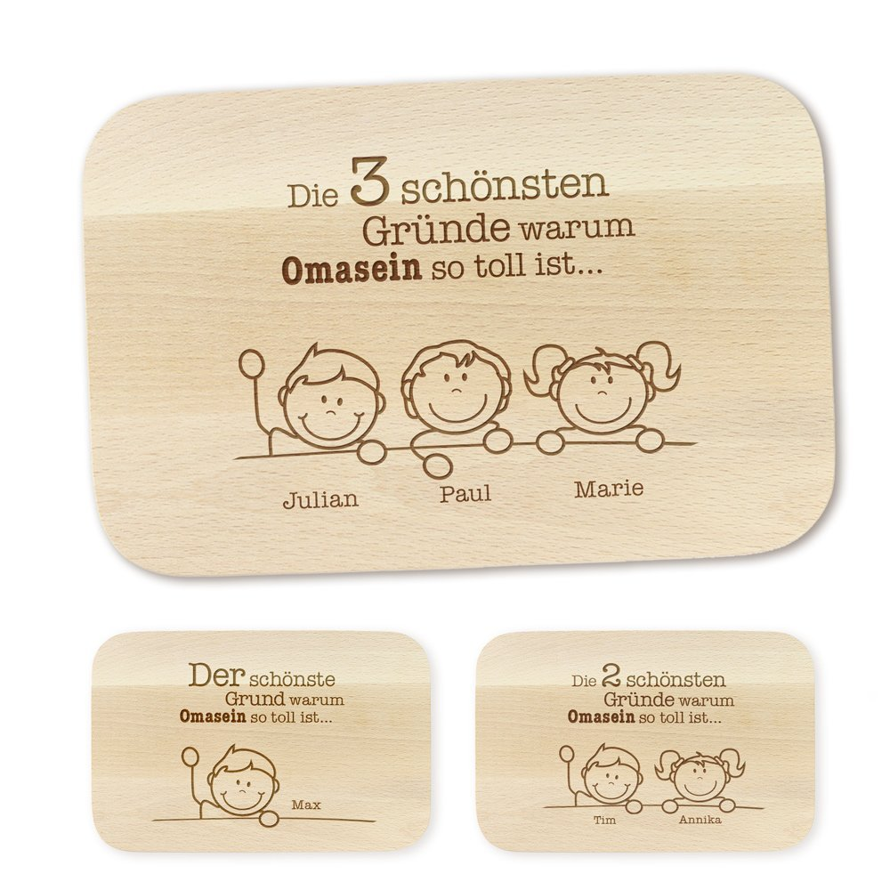 Frühstücksbrettchen – mit Gravur – Gründe für Oma – Personalisiert mit Namen