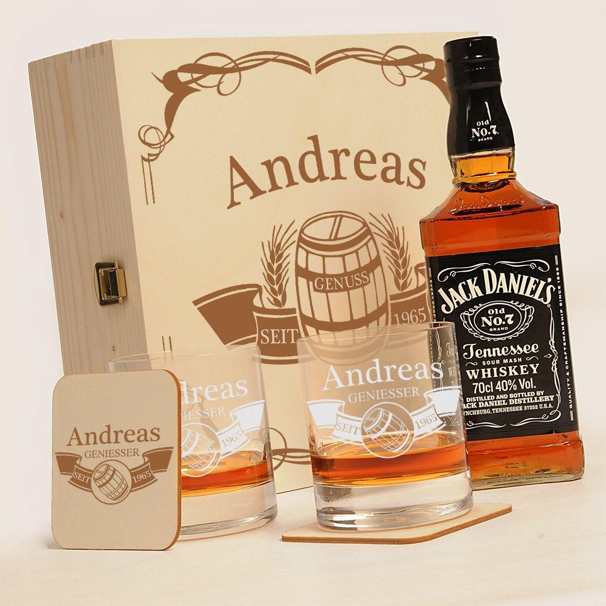 "Holzkiste mit Jack Daniels No.7   6-tlg. Whisky Geschenk-Set New York Bar inkl. Gravur ""Motiv - Fass im Banner"""