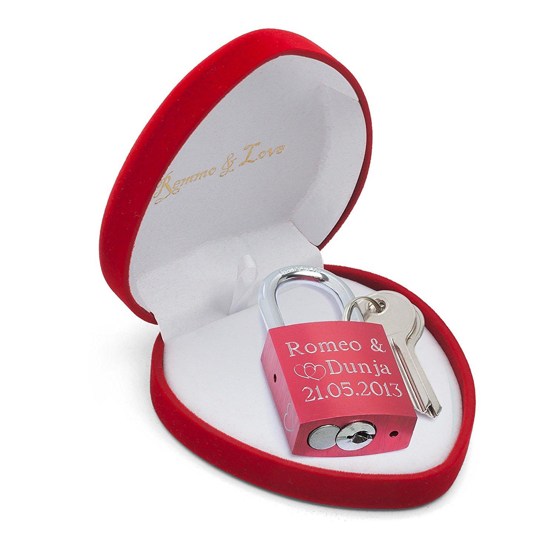 Remmo&Love Luxus Liebesschloss ROT in Herz-Box