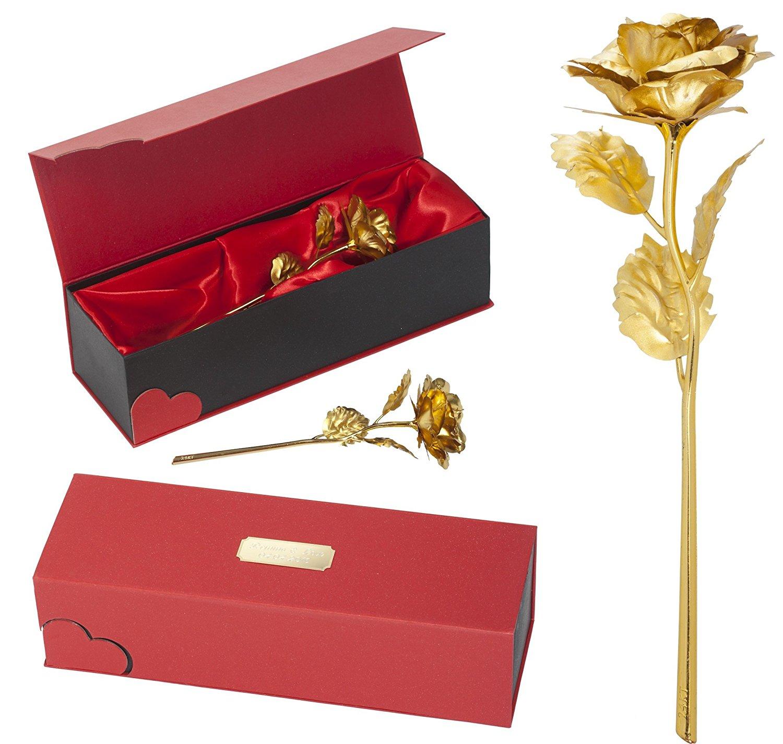 Remmo&Love LUXUS Goldene Vergoldete Rose mit Gravur personalisierte für Ewige Liebe mit 24 Karat Gold